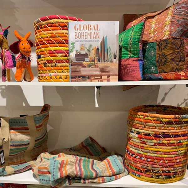 fabric baskets, global bohemian book